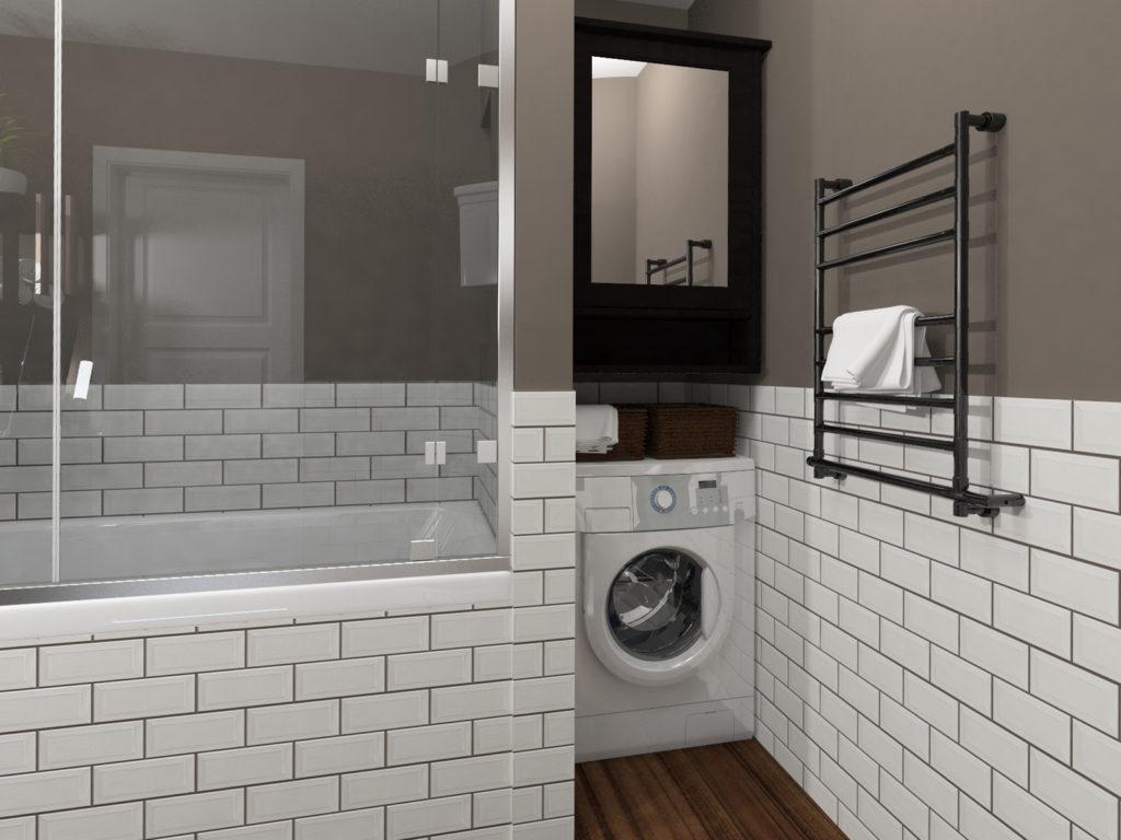 Ниша под стиральную машину в ванной