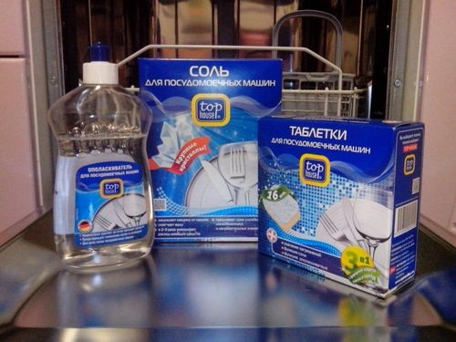 Набор моющих средств для посудомоечной машины: таблетки, соль и ополаскиватель
