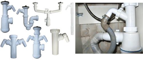 Разновидности конструкции сливных сифонов для подключения посудомоечной машины к канализации