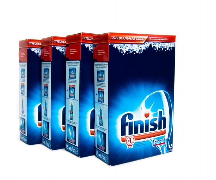 Соль Финиш для посудомоечной машины в картонной упаковке по полтора килограмма