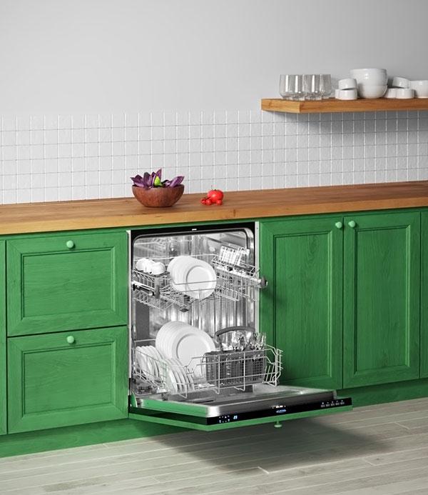 Вариант расположение встраиваемой посудомоечной машины на кухне больших размеров