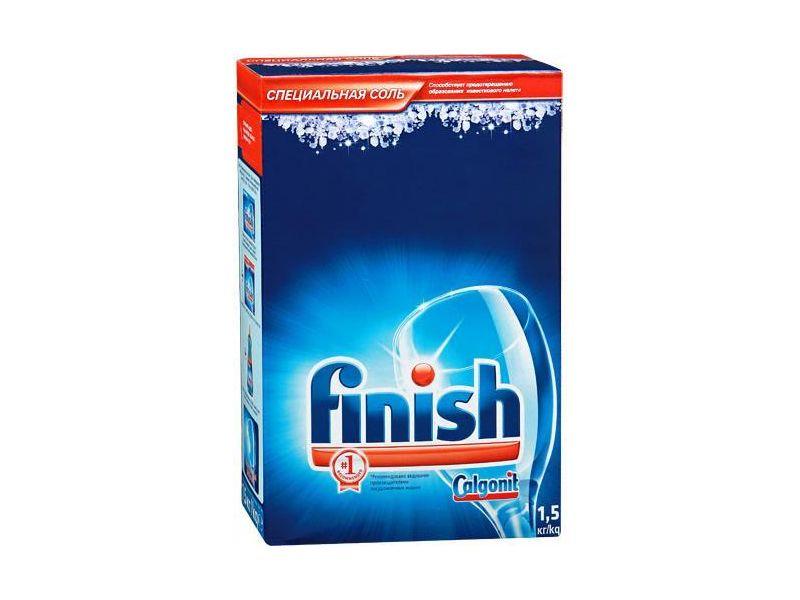 Специальная соль Финиш в упаковке 1,5 кг для смягчения воды в посудомоечной машине