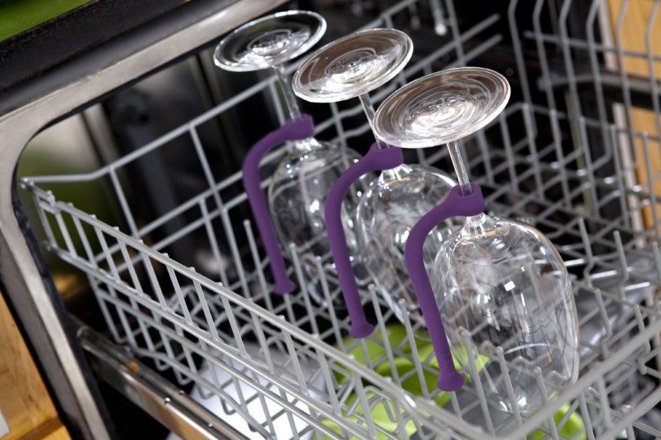 Закрепление хрустальных бокалов на ножке в посудомоечной машине с помощью крепления
