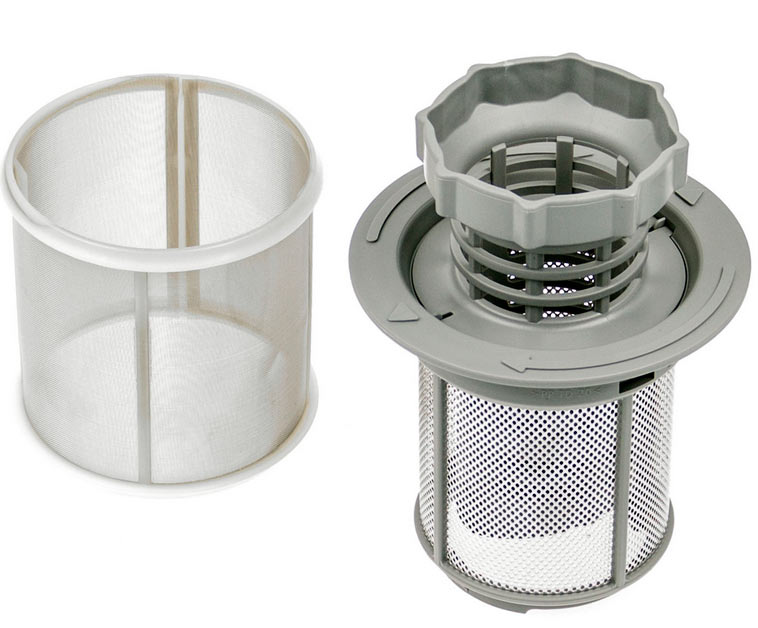 Вид дренажного (сливного) фильтра для посудомоечной машины с сеточкой