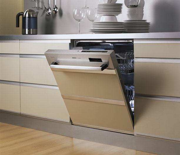 Образец установки частично встраиваемой посудомоечной машины на кухню в любом стиле