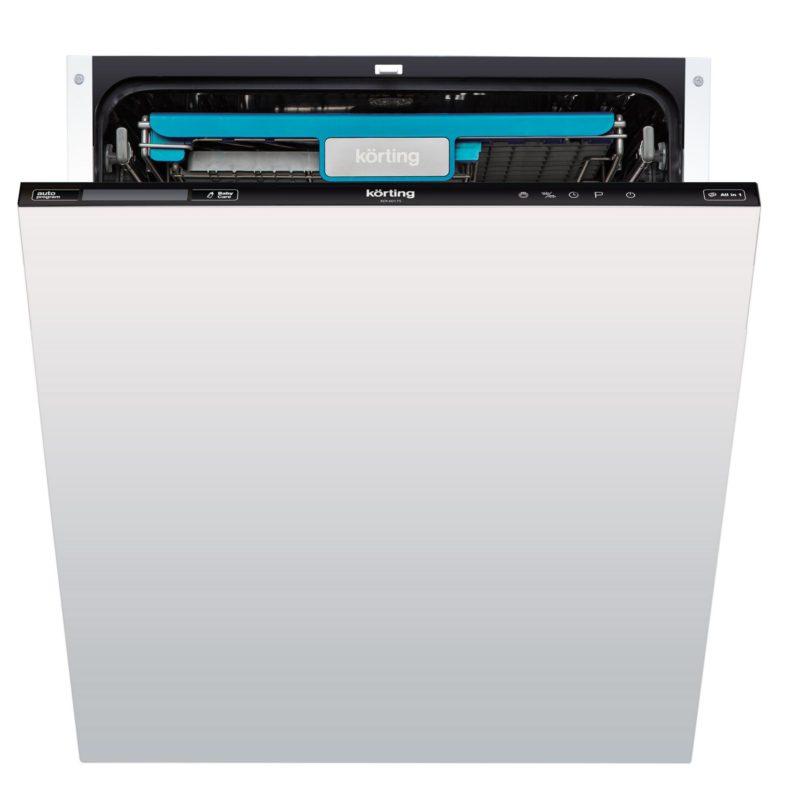 Стильная широкая посудомоечная машина Кертинг в двухцветном решении с голубыми вставками
