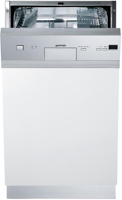 Стильная узкая посудомоечная машина Горенье с широкой вставкой на фасаде под панель задач