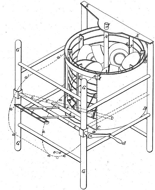 Рисованная схема первой ручной посудомоечной машины и ее принцип работы