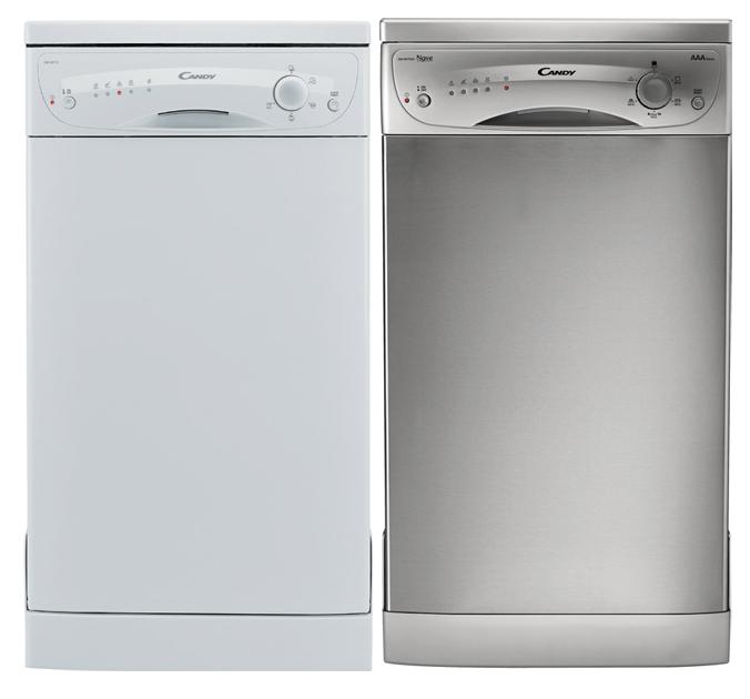 Две модели узких посудомоечных машин фирмы Канди в разных цветовых решениях