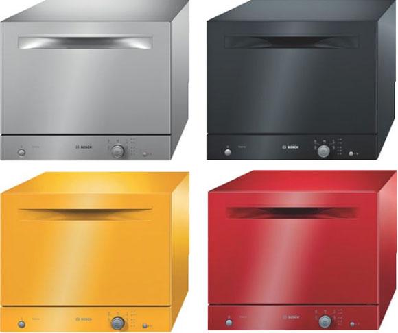 Компактная отдельностоящая посудомоечная машина в четырех ярких цветовых вариациях