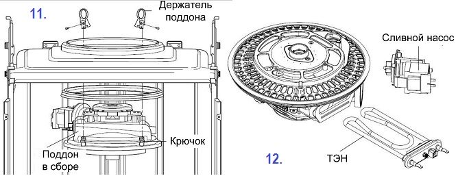 Извлечение насоса и ТЭНа из поддона посудомоечной машины при разборе своими руками