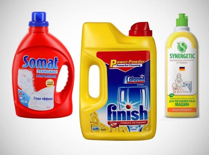 Три вида жидкого моющего средства для посудомоечной машины от популярных производителей
