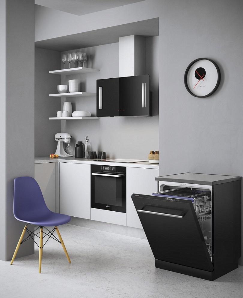 Пример размещения посудомоечной машины Флавия FS 60 ENZA на современной кухне