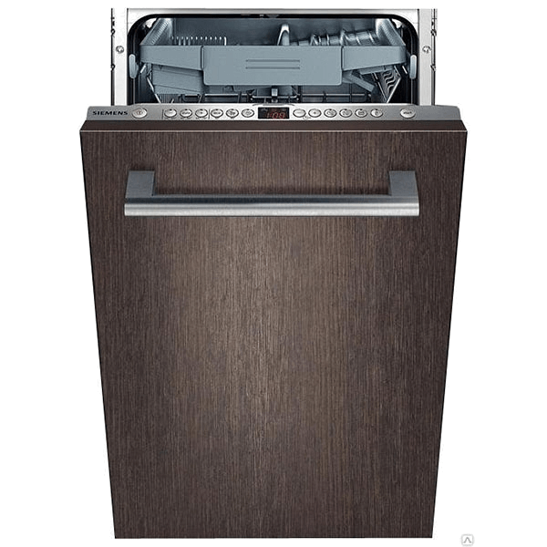 Узкая стильная посудомоечная машина Siemens SR66T090 с практичным фасадом под темное дерево