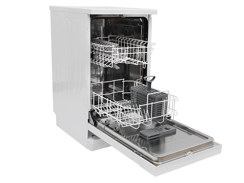 Вместительная узкая посудомоечная машина LERAN FDW 45-096 WHITE с двумя лотками для посуды