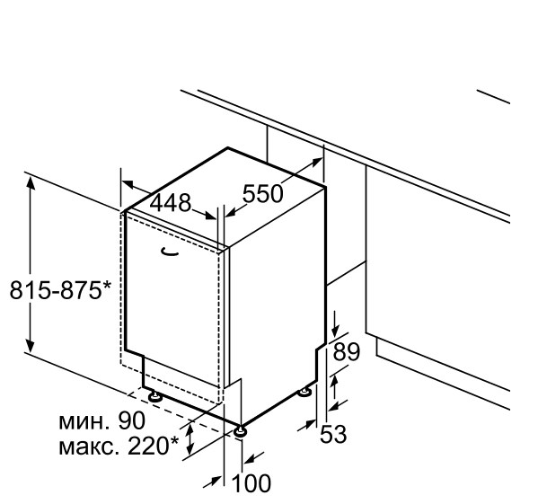 Размеры модели посудомоечной машины Siemens SR 64E003 для встраивания в кухонный гарнитур