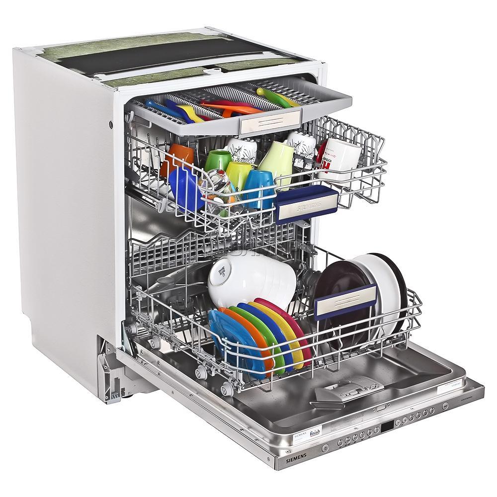 Трехуровневая посудомоечная машина Сименс со специальным отсеком для столовых приборов