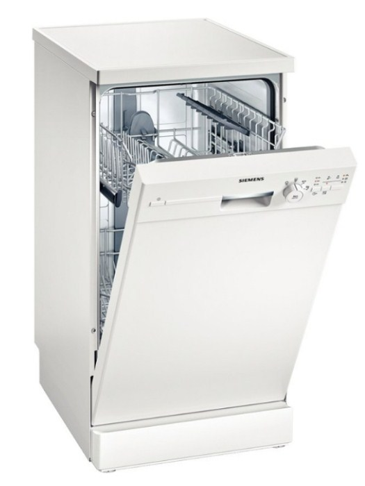 Узкая посудомоечная машина Siemens SR 24E202 с нежной подсветкой и механической фронтальной панелью