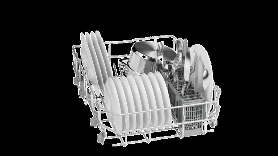 Правильное распределение посуды в лотке посудомоечной машины Бош