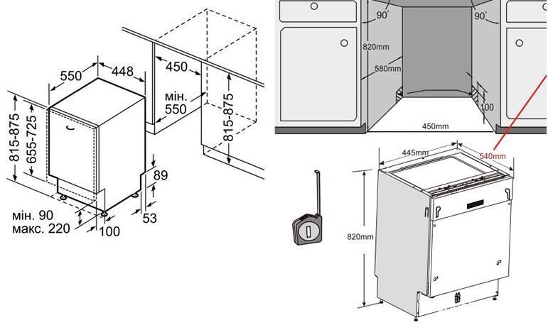 Подбор правильных размеров для монтажа посудомоечной машины в кухонный гарнитур