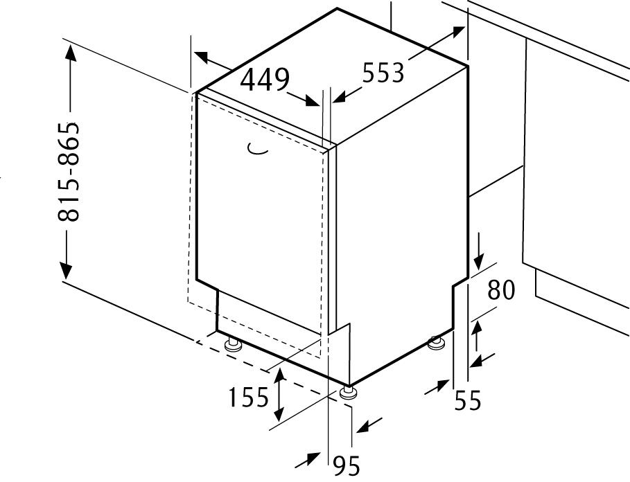 Размеры компактной встраиваемой посудомоечной машины Бош для кухни