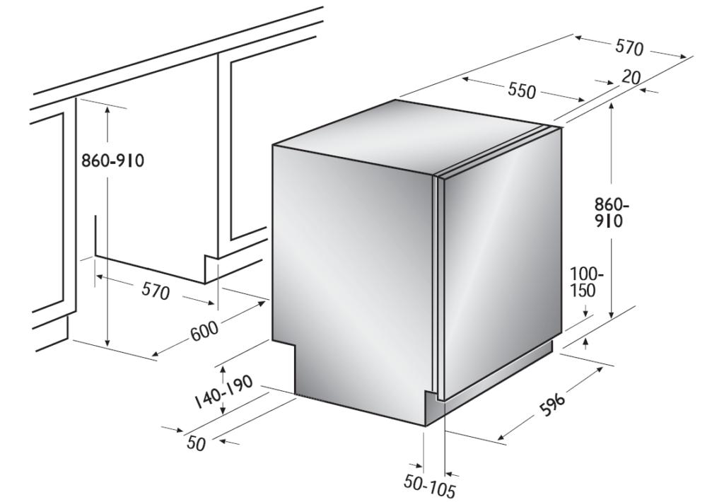 Правильный подбор размеров посудомоечной машины для монтажа под столешницу гарнитура
