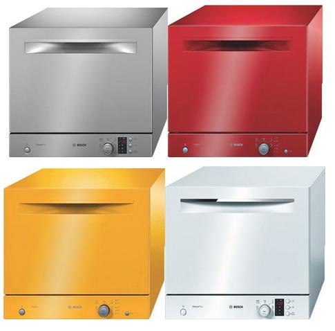Стильная компактная посудомоечная машина Бош в четырех вариантах яркой расцветки