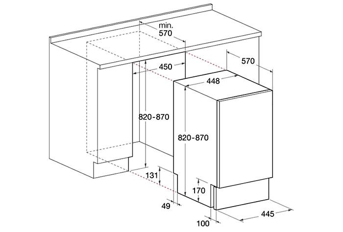 Схема расположения и выбора размеров посудомоечной машины для встраивания ее под столешницу