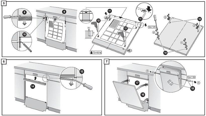 Схема монтажа полновстраиваемой посудомоечной машины Бош самостоятельно