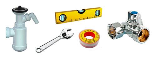 Набор инструментов, необходимых для подключения посудомоечной машины к канализации