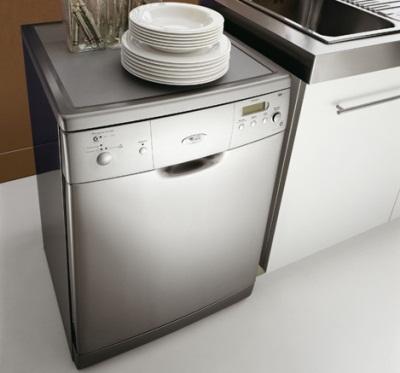Пример расположения отдельностоящей посудомоечной машины возле раковины на небольшой кухне