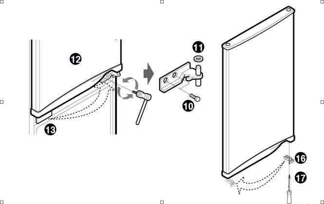 Обозначение деталей крепления дверцы