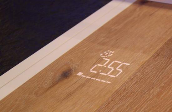 Функция отсчета времени мытья посуды в посудомоечной машине в виде проекции на полу