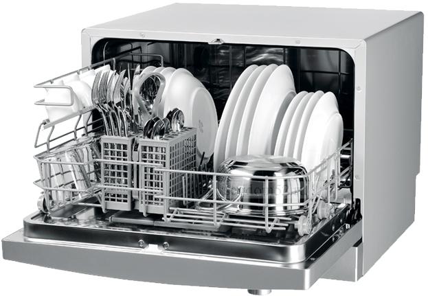 Полная загрузка компактной посудомоечной машины небольших размеров