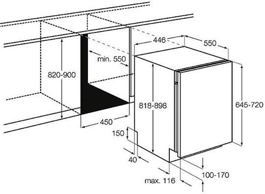 Точный расчет размеров встраиваемой посудомоечной машины Бош под размер пространства
