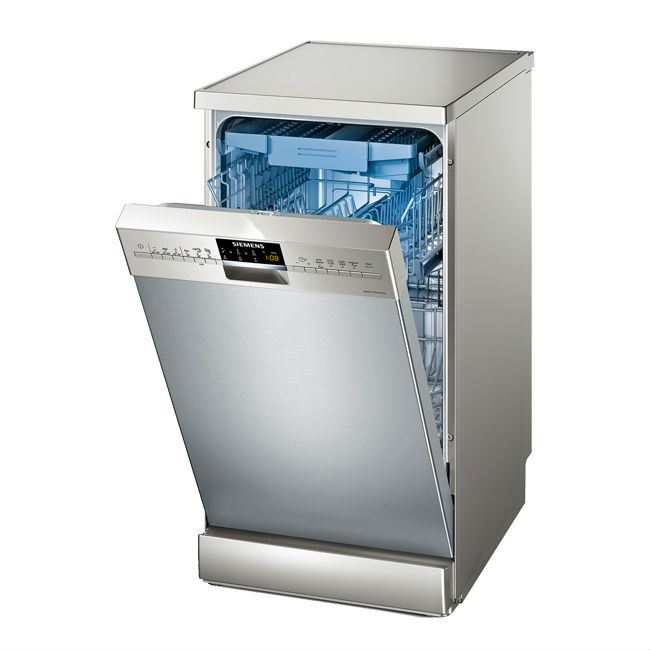 Отдельностоящая модель посудомоечной машины Siemens SR 26T897 с аксессуарами нежно голубого цвета