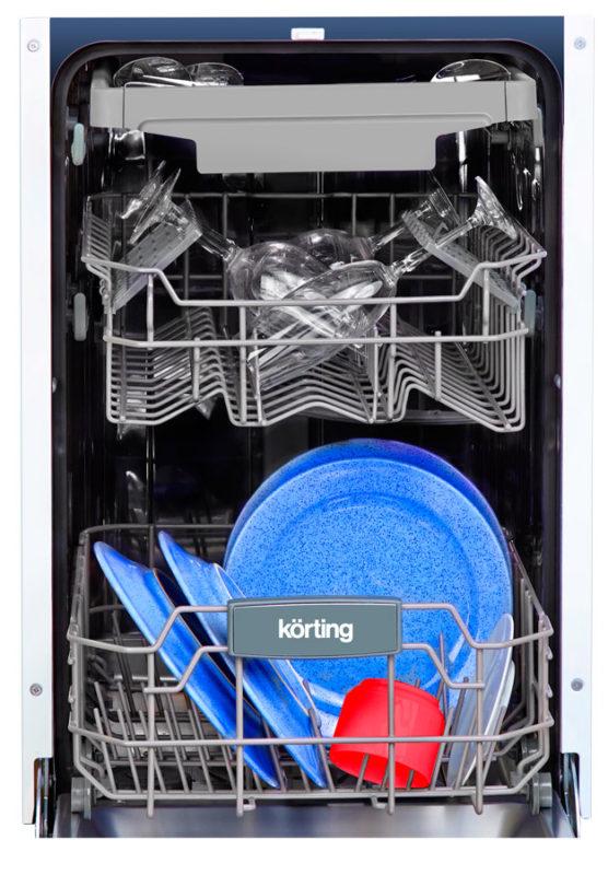Вариант правильной загрузки посуды в бункер посудомоечной машины Кертинг