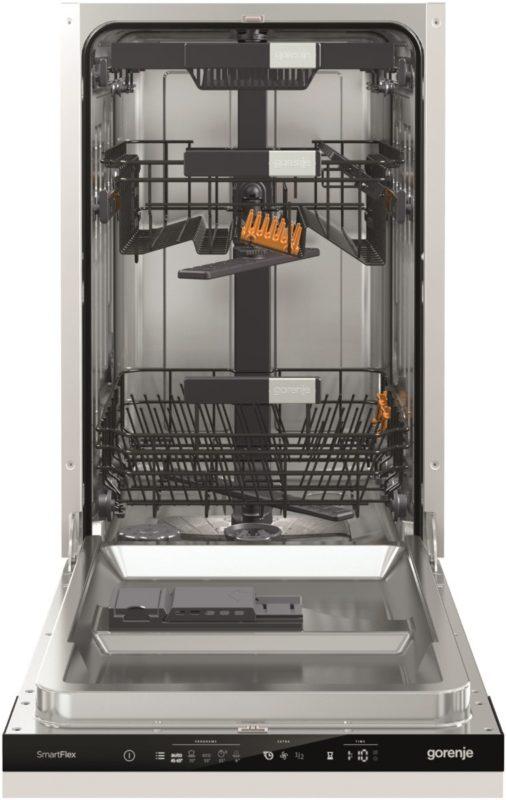 Бункер узкой встраиваемой посудомоечной машины Горенье с лотками для посуды и столовых приборов