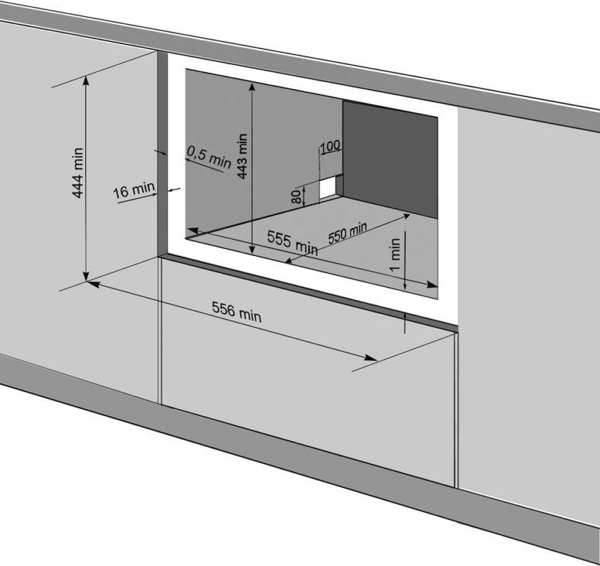 Размеры для встраивания компактной посудомоечной машины в кухонный гарнитур