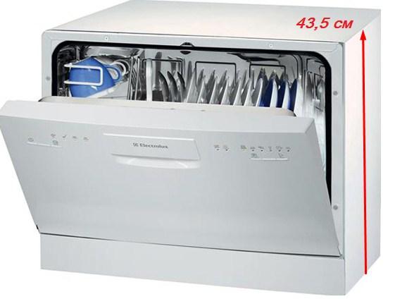Высота стандартной компактной посудомоечной машины составляет более 43 сантиметров