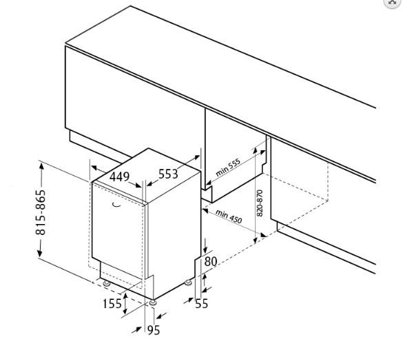 Размеры посудомоечной машины Флавия для встраивания в кухонный гарнитур