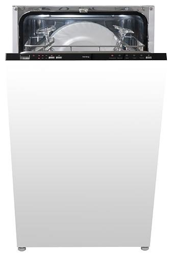 Приоткрытая модель посудомоечной машины Korting KDI 4530 с примером правильной загрузки посуды