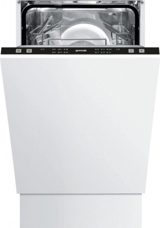 Модель встраиваемой посудомоечной машины Gorenje GV50211 с панелью задач на торце дверцы