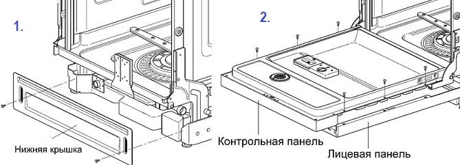 Схема снятия декоративной панели посудомоечной машины при самостоятельно разборе