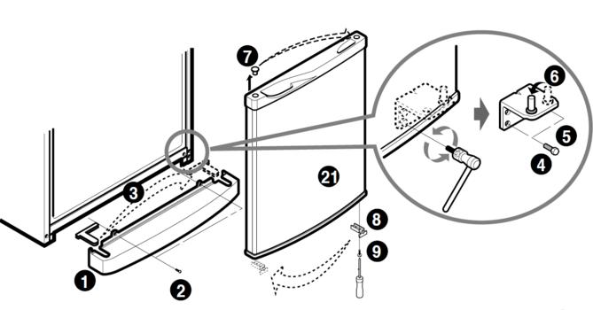 Обозначение деталей дверцы холодильника