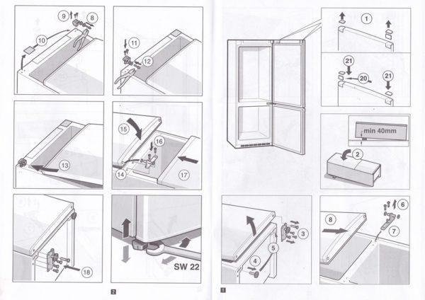 Схема крепления дверцы холодильника