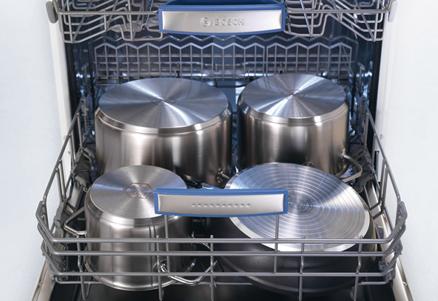 Распределение громоздкой посуды в лотке больших посудомоечных машин Бош