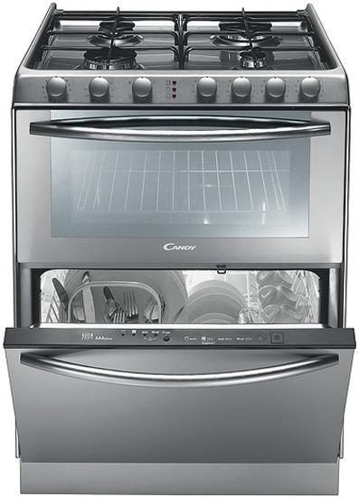 Модель Candy Trio 9501 три в одном: газовая плита, электрическая духовка и посудомоечная машина
