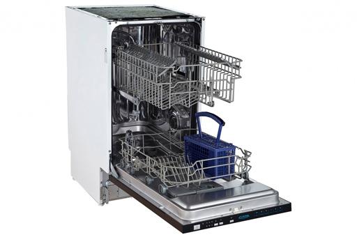 Полновстраиваемая узкая посудомоечная машина с двумя уровнями лотков для посуды в бункере