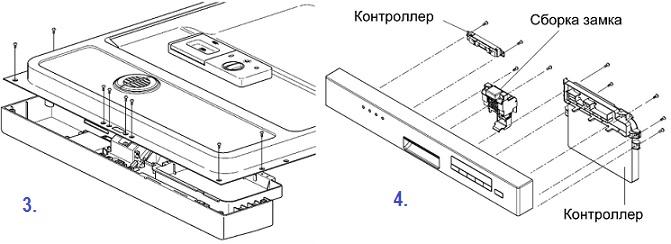 Схема самостоятельного разбора передней дверцы посудомоечной машины